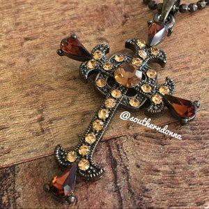 Jewelry - 💕 Beautiful Amber Rhinestone Cross Necklace 💕